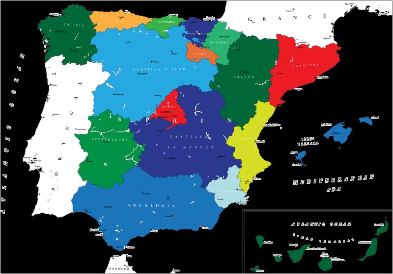 TenVinilo. Vinilo mapa España comunidades autónomas. Vinilos decorativos España con el dibujo de la península y en colores las distintas comunidades con las ciudades principales.
