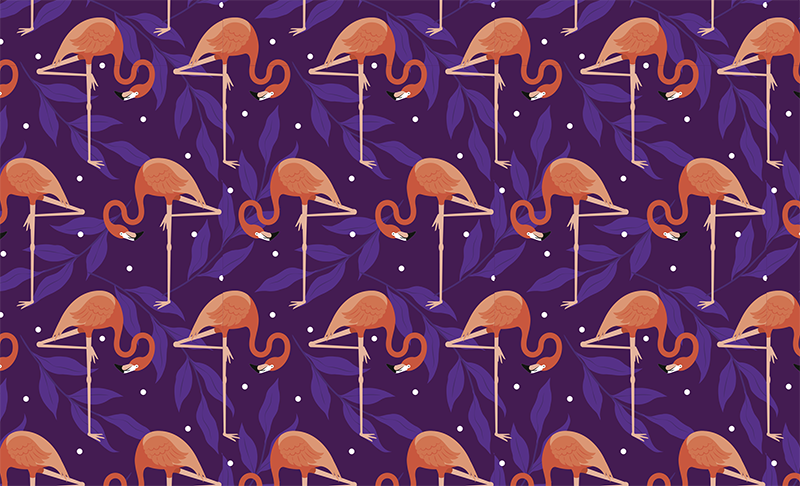 TenStickers. Tropical Flamingo Furniture Sticker. Fun tropical flamingo design to decorate your drawers and cupboards, from our collection of furniture decals. This purple and pink vinyl sticker is perfect for making your chest of drawers stand out. Give it a unique touch quickly and easily without the risk of air bubbles or residue.