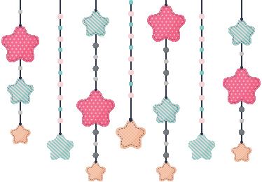 TenStickers. Adesivo per mobili stelle per bambini. Decorare i mobili nella camera dei bambini con questo adesivo stella. L'adesivo è composto da stelle di diversi colori e dimensioni appese a fili.