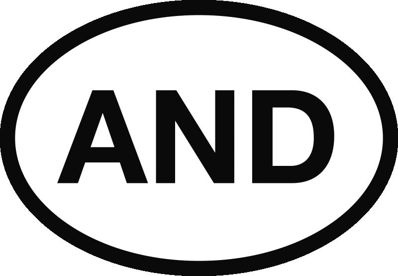 TenVinilo. Pegatina coche Andorra. Señaliza claramente que eres ciudadano de Andorra con esta pegatina para coche con las siglas de tu país.
