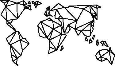 TenStickers. Sticker planisphère géométrique. Sticker représentant une carte du monde sous forme de lignes géométriques. Vous pourrez grâce à ce sticker apporter une touche élégante et raffinée.