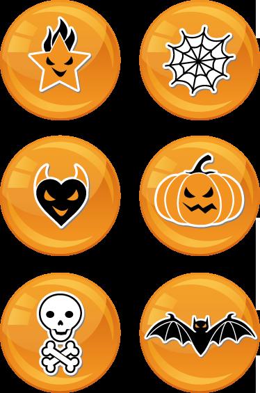 TenStickers. Naklejka dekoracyjna kolekcja Halloween. Kolekcja sześciu naklejek dekoracyjnych przedstawiająca różne symbole nawiązujące do Halloween. Znajdziesz tu m.in obrazek z dynią, pajęczyną, nietoperzem...