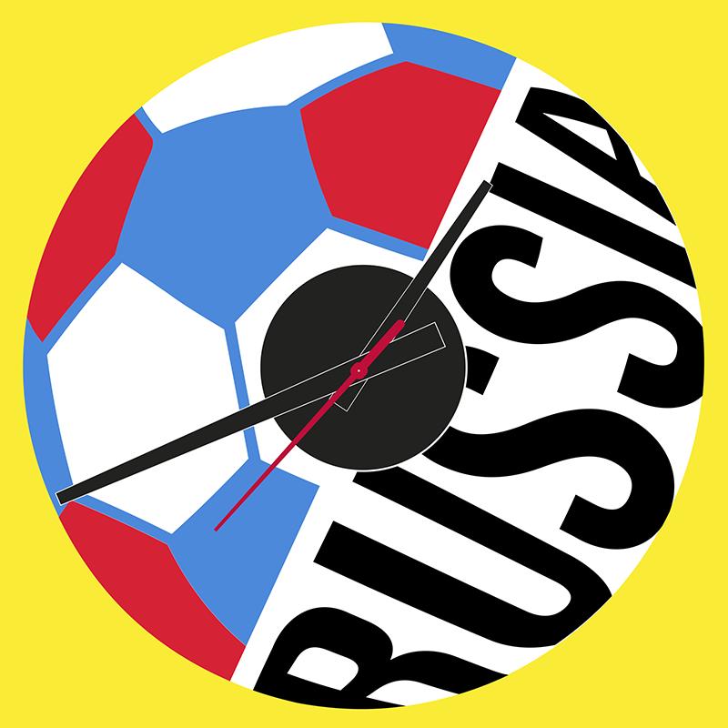 TenStickers. Wandtattoo Uhr WM Russland. Originelles Uhren Wandtattoo, das durch die Weltmeisterschaft in Russland inspiriert wurde. Schaffen Sie mit diesem Fußball Uhr Aufkleber eine einzigartige WM-Atmosphäre.