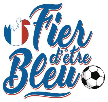 """TenStickers. Sticker fier d'être bleu coq. Sticker sportif montrant votre amour pour l'équipe de France de Football. Un sticker qui a tout pour être parfait : un coq sur fond de drapeau tricolore, un ballon de foot et une belle police d'écriture pour ce sticker """"Fier d'être Bleu""""."""