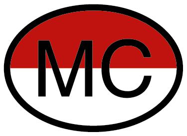 """TenStickers. Sticker voiture Monaco drapeau. Sticker pour véhicule avec les lettres """"MC"""" pour Monaco ainsi que son drapeau en fond Un sticker qui vous permettra de montrer votre amour pour le rocher sur votre voiture!"""
