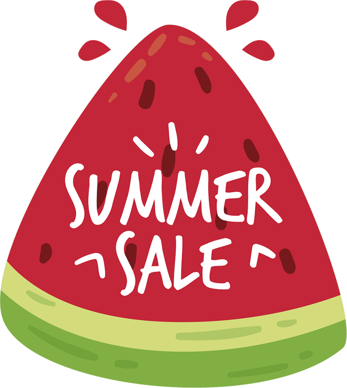 TenStickers. summer fruit sales sale wall decal. Business sales sticker designed with fruit and summer text. A nice decoration for shop front to promote summer sale. Easy to apply and adhesive.