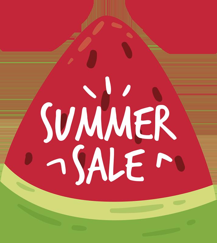 TenStickers. Summer sale meloen sticker. Het is weer tijd voor de zomer en de zomer sale! Het design bestaat uit een stuk watermeloen met daarop de tekst 'summer sale'.