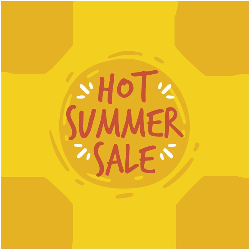 TenStickers. Naklejka wyprzedaż letnia Hot Summer Sale. Reklamuj sprzedaż w swoich sklepach dzięki tej naklejce na witryny sklepowe! Zarejestruj się, aby uzyskać 10% zniżki.