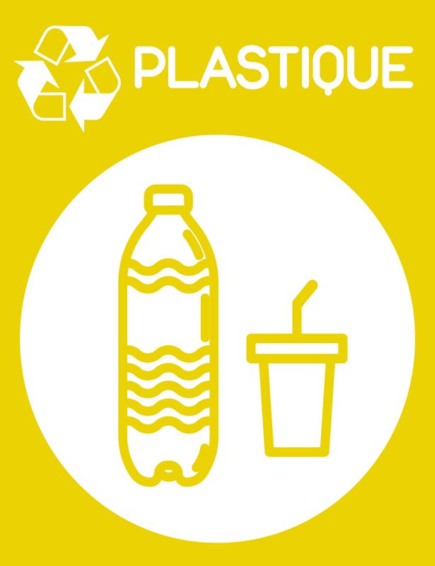 TenStickers. Nalepka z rumenim recikliranjem plastike. Skrbite za okolje. S to ikono vinilne nalepke, ki prikazuje, katere vrste smeti se lahko tukaj reciklirajo: plastika.