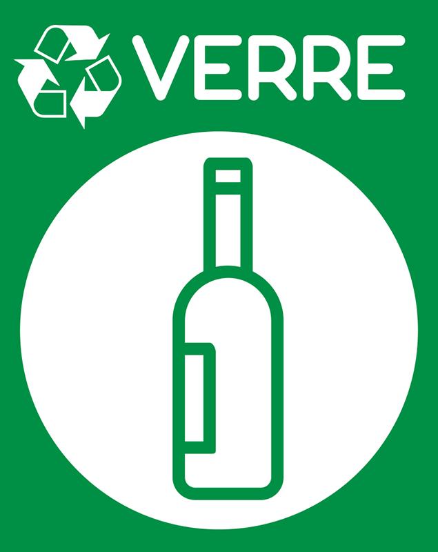 TenStickers. Stickers Dessin Recyclage Verre. Pour pouvoir commencer sainement ses bonnes résolutions et commencer à sauver la planète, rien de mieux que ce sticker pictogramme !