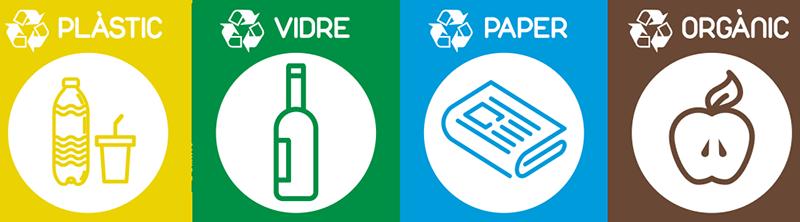 TenVinilo. Pegatinas reciclatge catalán. Vinilos para contenedores con cuatro adhesivos en catalán correspondientes a basura orgánica, papel, vidrio y cristal.