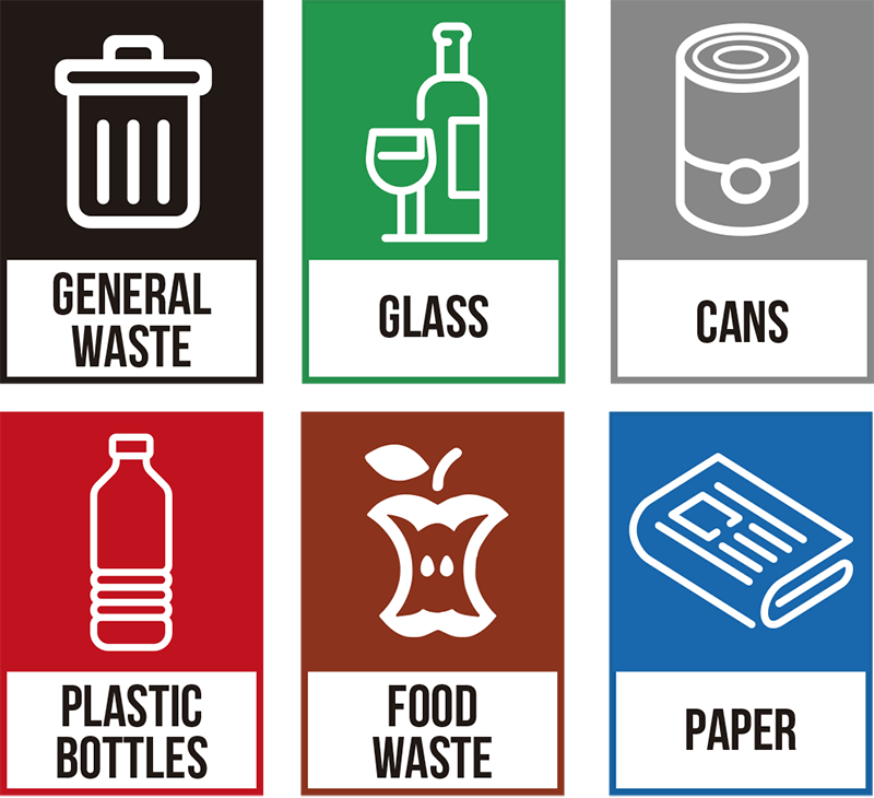 TenStickers. Recycling Generic Sticker. The recycling generic sticker is useful as a recycling bin sticker or a recycling wall sticker. It can also be used on bins.