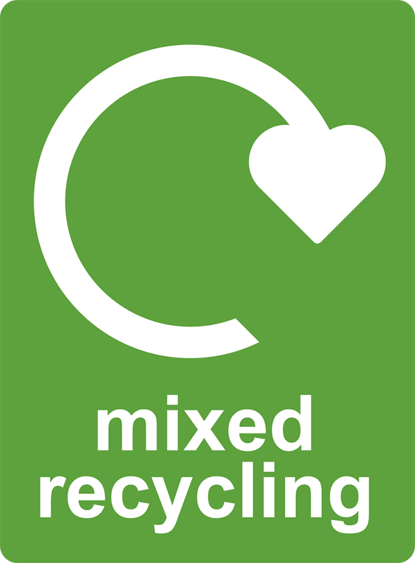 TenStickers. Mixed recycling sticker. Our Mixed Recycling Stickers are used as labels for recycling bins or as recycle posters as they are so easy to apply. Zero residue upon removal.