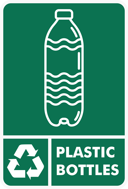TenStickers. Recycling Plastic Bottles Sticker. The Recycling Plastic Bottles Sticker is a must for those who truly value recycling. It is included in our range of recycle bins stickers.