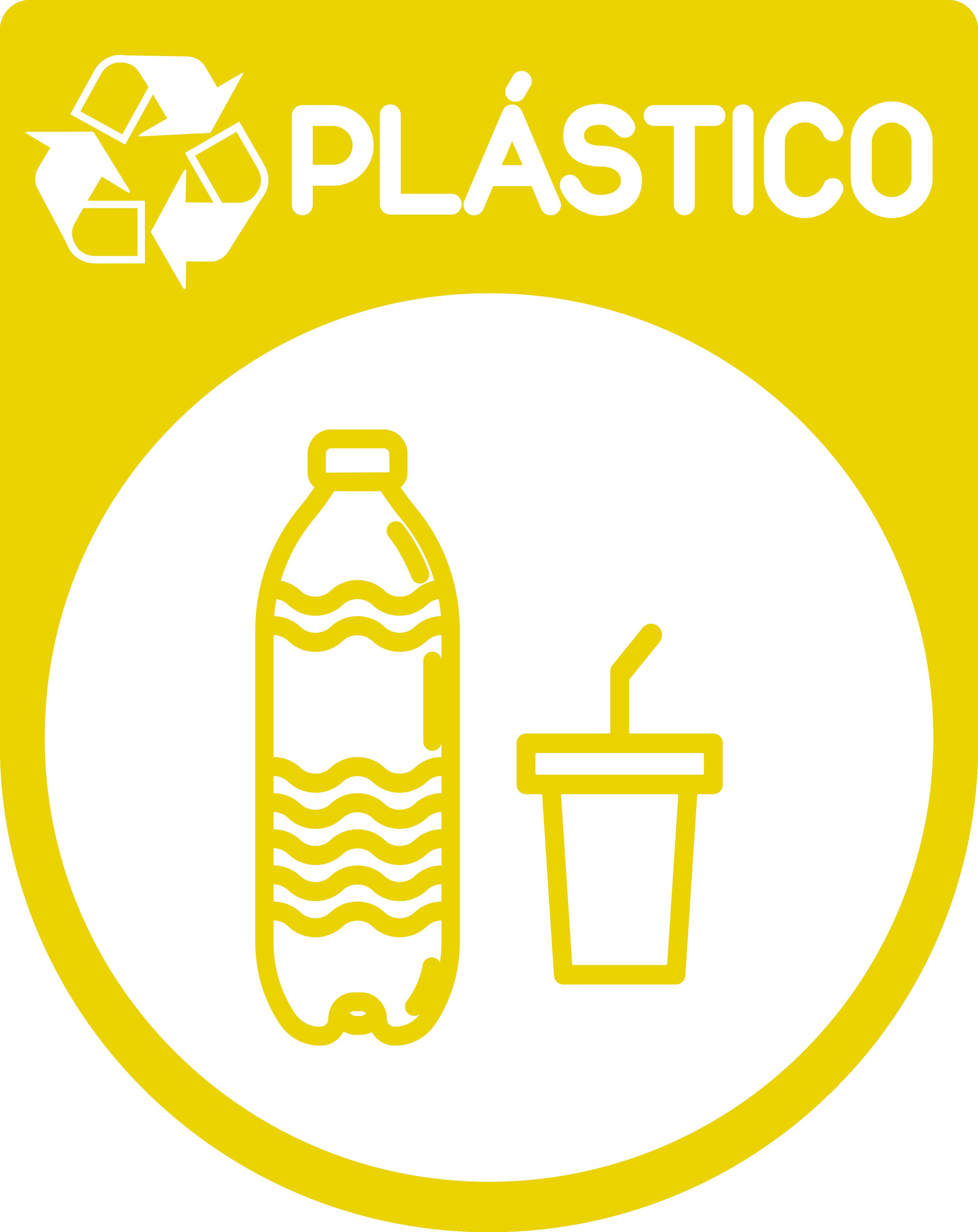 TenStickers. 플라스틱 재활용 표시 스티커. 부엌, 차고 및 공공 및 거리 공간의 쓰레기통에 배치하는 플라스틱 재활용 아이콘 스티커. 모든 크기로 제공됩니다.