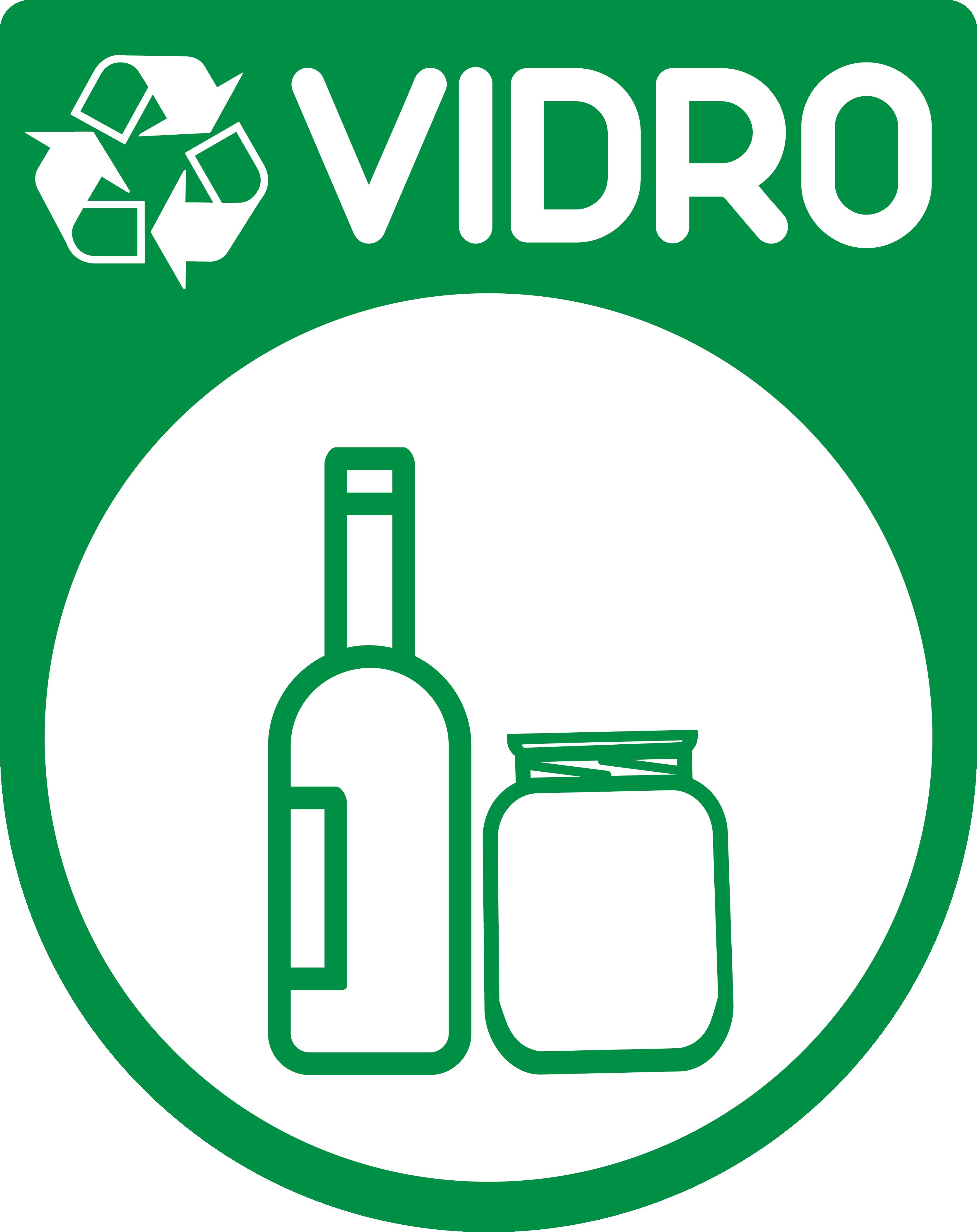 TenStickers. Nalepka z znakom za recikliranje stekla. Okrasna ikonična nalepka za recikliranje posode za smeti s slikovnim tiskom stekla in steklenic. Na voljo v poljubni velikosti.