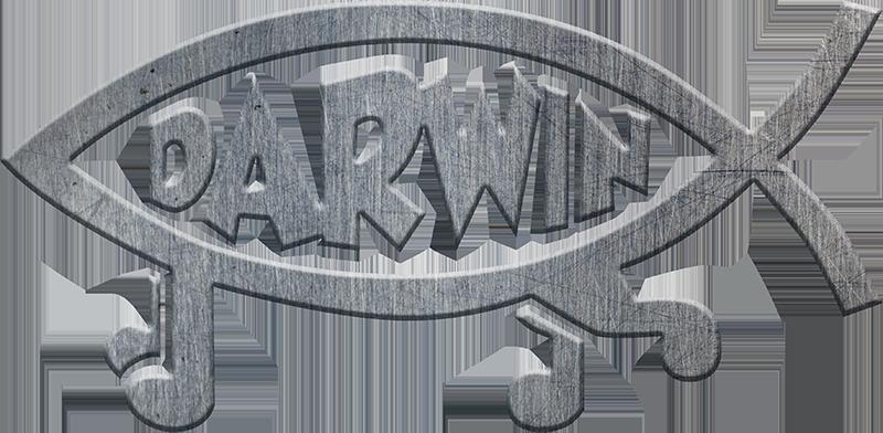 TENSTICKERS. シルバーフィッシュカーデカール. テキストの碑文「ダーウィン」が付いたオリジナルのフィッシュアートデカール。必要なサイズがあり、簡単に適用できます。接着剤と耐久性。