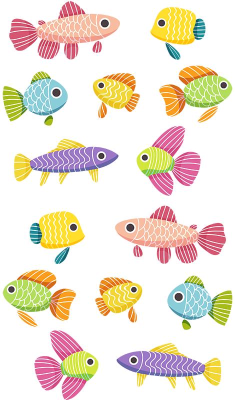 TenStickers. Children's marine fish fish wall decal. Colorful decorative fish wall art decal for children room decoration. It is available in different sizes and easy to apply.
