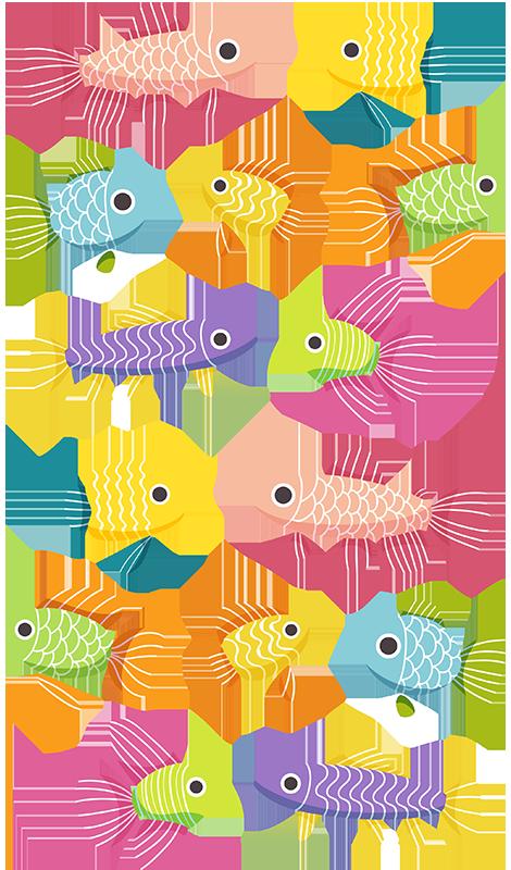 TenStickers. Stickers poissons aquarium enfant. Stickers poissons représentant différentes espèces dans différentes couleurs et formes. Un sticker coloré inspirés de ces petits animaux aquatiques.