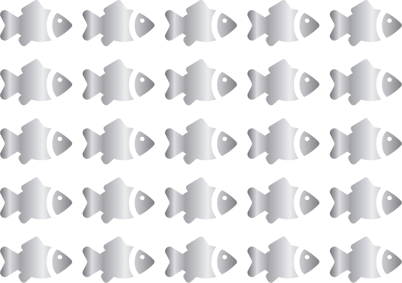 TenStickers. Silver kids fish fish wall decal. Decorative fish wall art decal for children bedroom decoration. It is featured with multiple prints of fishes.Customisable in any size you would want.