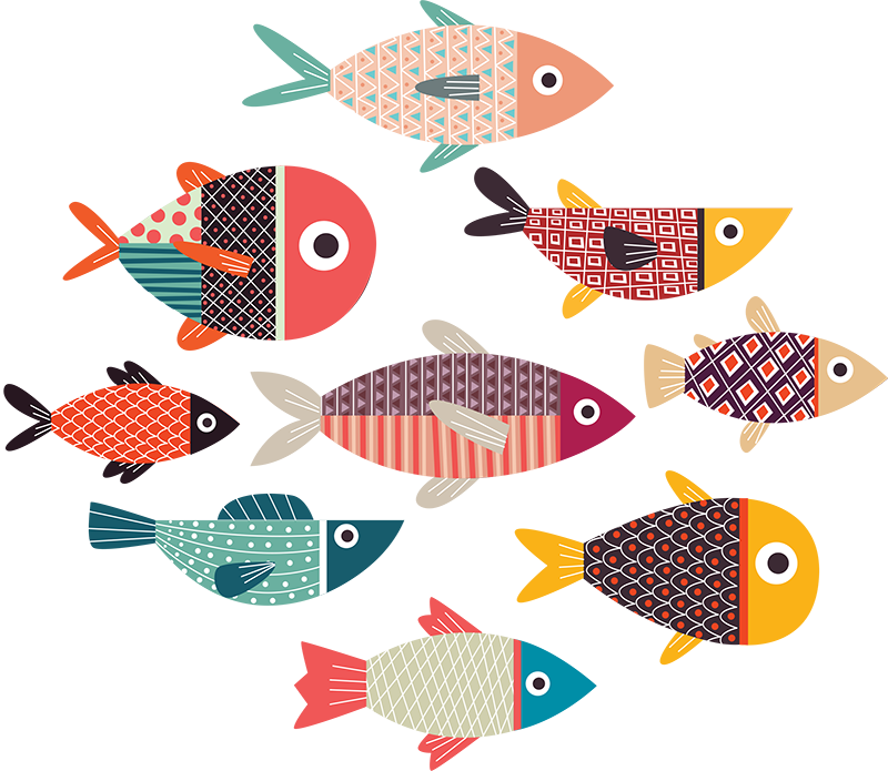 TenStickers. Multicoloured Fish Wall Sticker. Add some fishes to any wall in your home with this brilliant wall art sticker! Discounts available.