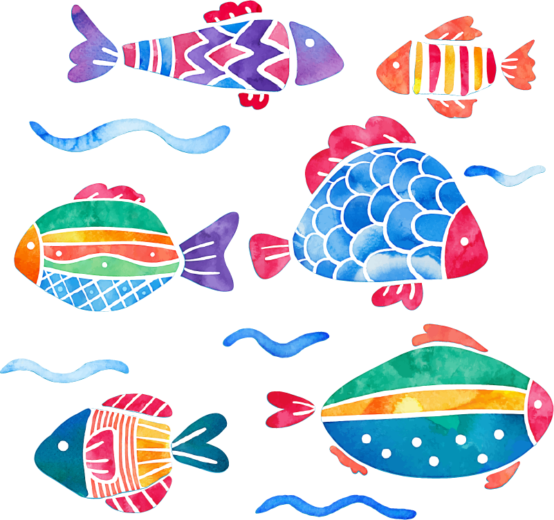 TenStickers. Fish Children´s Bath Stickers. Add some fishes to your bathtub with this fantastic bathroom decal! Easy to apply.