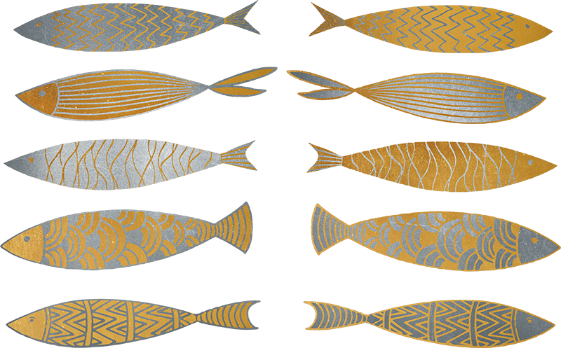TenStickers. Gold and Silver Fish Wall Sticker. Add some gold and silver fish to your wall with this magnificent fish themed wall sticker! +10,000 satisfied customers.