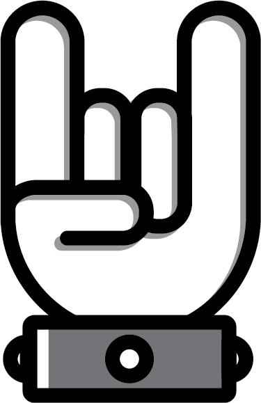 TenStickers. Heavy Metal Icon Sticker. Guitar stickers and Rock stickers - The rock and heavy metal hand gesture that is recognised around the world. The heavy metal sticker can also be used as a car sticker.