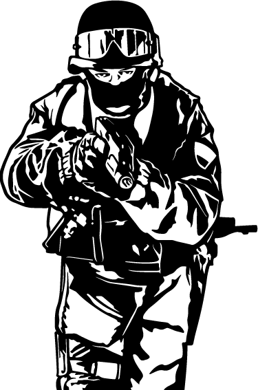 TenStickers. SWAT Team Wall Sticker. Swat Team Wall Sticker - Illustrative wall art sticker that shows a member of a SWAT team member holding a gun and ready to put it all on the line.