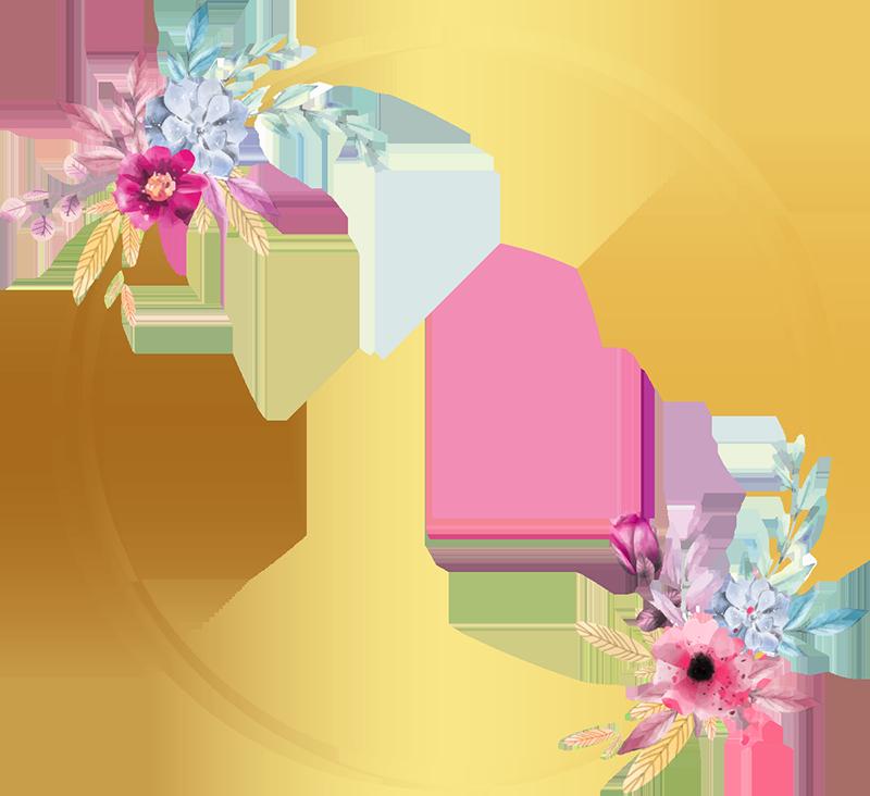 TenStickers. 꽃 거울 스티커. 이 멋진 꽃 거울 데칼로 거울에 꽃을 추가하십시오! 할인 가능.