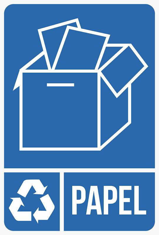 TenVinilo. Adhesivos reciclaje papel. Pegatinas reciclaje para señalizar qué contenedor de tu empresa o domicilio está destinado a deshechos de cartón o papel Adhesivos resistentes y fáciles de aplicar de señalética para contenedores,Adhesivos baratos con un diseño de lenguaje sencillo y lectura universal