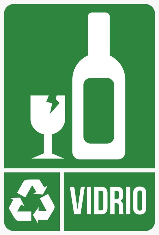 TenVinilo. Adhesivos reciclaje vidrio. Pegatinas reciclado para señalizar qué cubo de basura de tu casa o negocio está destinado a envases de cristal, vasos y botellas.