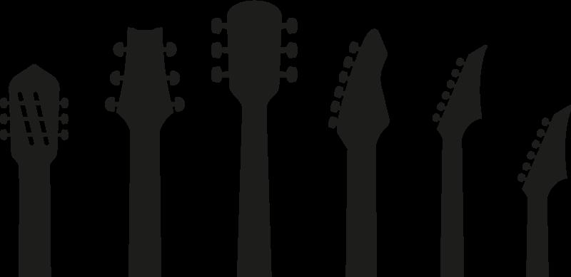 TenStickers. Adesivo Rock silhouette chitarre. Sticker musica con la sagoma di 6 chitarre, classiche ed elettriche, per una stanza Rock! Adesivo murale disponibile in varie misure.