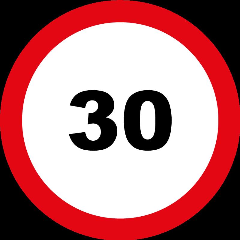 TenStickers. Kliko sticker 30km. Waarschuwingsbord sticker met maximale snelheid 30 km om op de kliko's te plaatsen. Afmetingen aanpasbaar. 10% korting bij inschrijving.