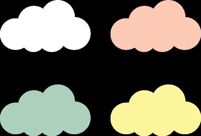TenVinilo. Vinilo pared nubes colores tono pastel. Vinilo para bebés con diseño de nubes en tonos pastel perfecto para tu pequeña. Es fácil de aplicar y puedes elegir el tamaño ¡Envío a domicilio!