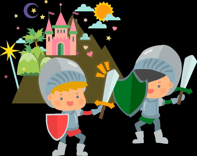 TENSTICKERS. 幼児騎士の壁アートステッカー. この楽しい子供用壁アートステッカーで中世に敬意を表します!利用可能な割引。