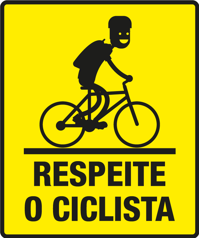 TenStickers. Respect the cyclist Car Decal. Cyclist car vinyl decal design created with the image of a cyclist riding and the text on it that says '' respect the cyclist .