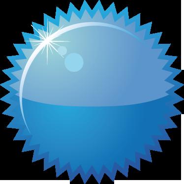 TenStickers. Sticker rond bleu à piques offre. Décorez votre vitrine de manière original grâce à ce sticker bleu brillant de forme ronde avec un contour formé de pics.