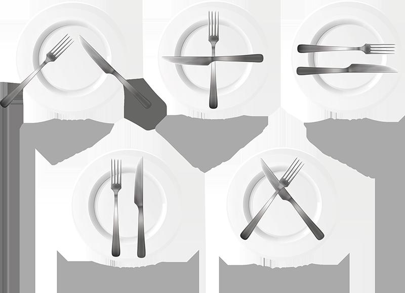 TenVinilo. Vinilo decorativo restaurante normas en la cocina. Vinilo decorativo para el hogar ideal para la decoración de paredes de una forma original con los códigos de cocina en una mesa.
