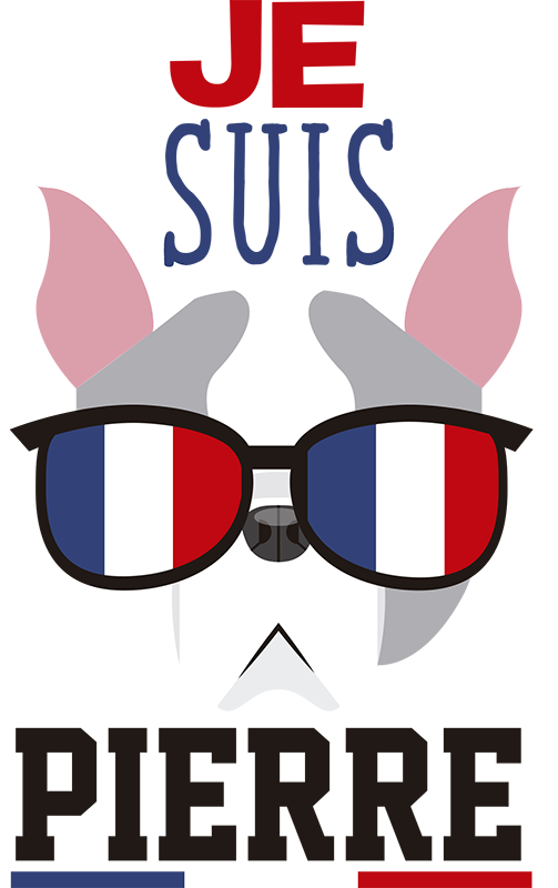 TenStickers. French dog flag decal. A personalisable location theme wall decal design created with the image of a dog wearing a sunshade in a french country flag design.
