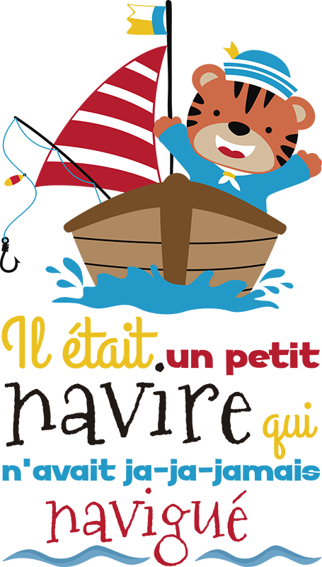 TenStickers. Small boat song nursery rhyme wall sticker. Decorative nursery rhyme wall decal design for children. It is created with the feature of a sailing boat with song text . Easy to apply and adhesive.