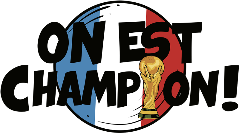 TenStickers. we are champions FR football sticker. Football goal wall decal for teens room decoration. It is a design to celebrate championship. Easy to apply and adhesive.