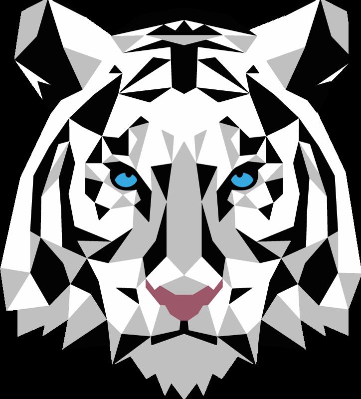 TENSTICKERS. 幾何学的な虎の壁の装飾. 青い目の白い虎の幾何学的な壁のステッカー。あなたの家のどの部屋の壁にも、このモダンで美しいデザインを置いてください!