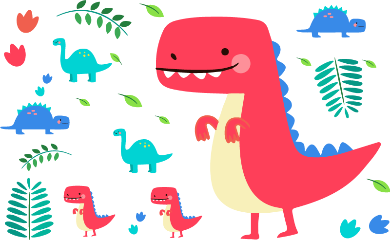 TenStickers. Children´s Dinosaur Sticker Collection. Adorn your child´s wall with this fantastic collection of dinosaur themed stickers! Available in 50 colours.
