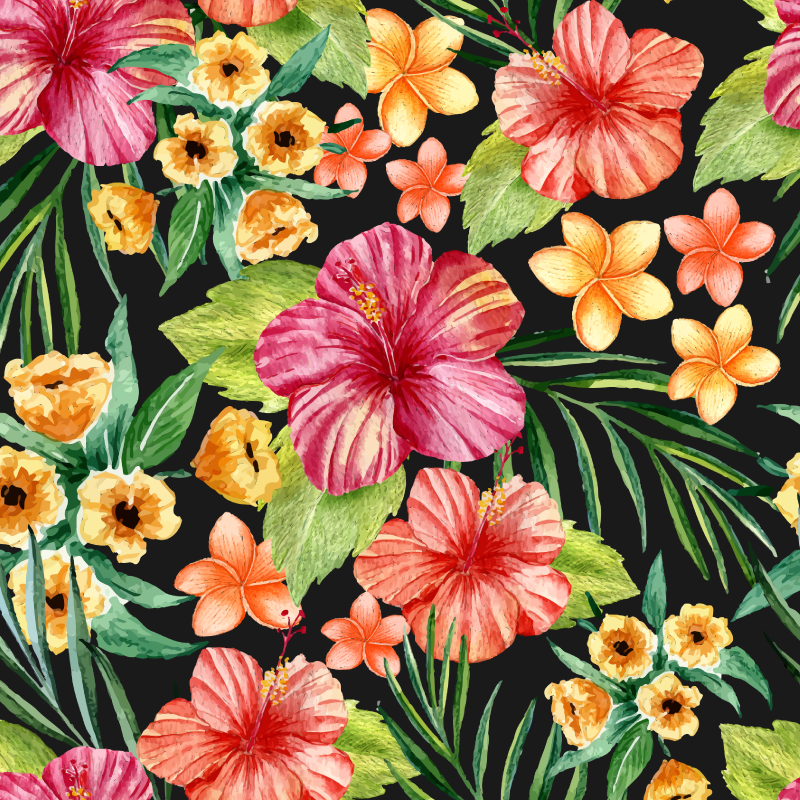 TenStickers. 수채화 열대 꽃 거실 벽 장식. 이 화려한 꽃 무늬 벽 스티커를 통해 추운 겨울철에 여름 느낌을줍니다 치수는 원하는대로 조정할 수 있습니다.