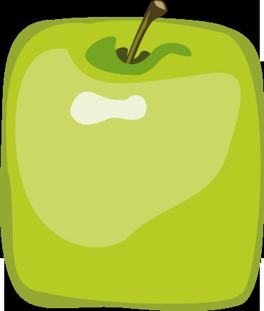 TenVinilo. Vinilo decorativo frutería. Adhesivo de manzana verde en forma de cubo para anotar ofertas y descuentos en los productos más sabrosos de tu negocio.