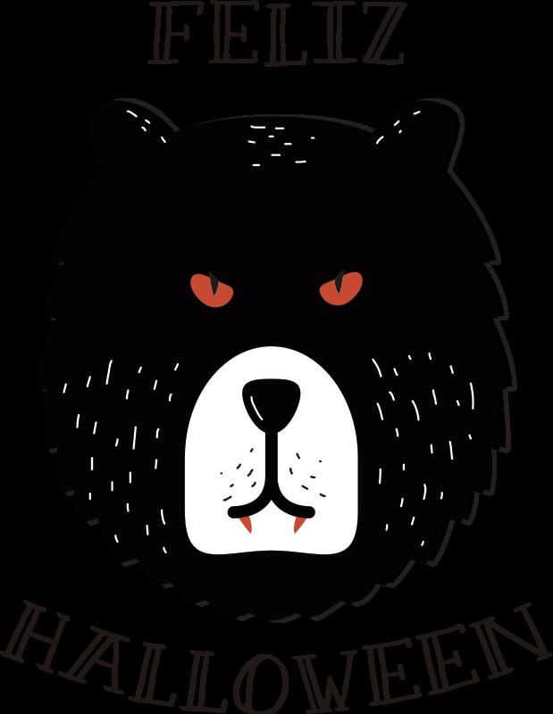 """TenVinilo. Vinilo Halloween feliz oso. Vinilo animal de terror, oso con colmillos a lo Drácula y el texto """"feliz Halloween"""" alrededor. Aprovecha nuestros fantásticos descuentos para nuevos usuarios"""