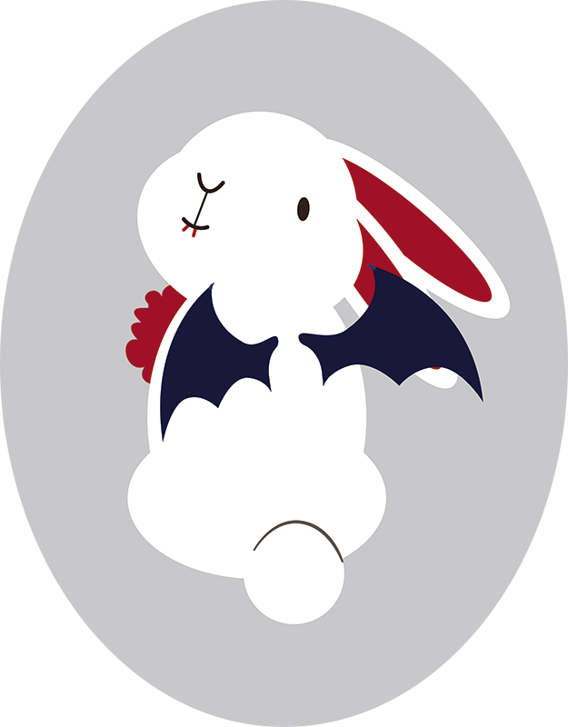 TenStickers. Halloween Bunny Rabbit Wall Sticker. A brilliantly funny wall sticker showing a bunny dressed for Halloween! Perfect cute Halloween decor for your party. Easy to apply.
