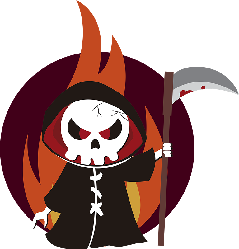 TenStickers. Grim Reaper Halloween Wall Sticker. Bring the Grim Reaper to you this Halloween with our fantastic sticker! Sign up for 10% off. Ideal for the festivities in October.