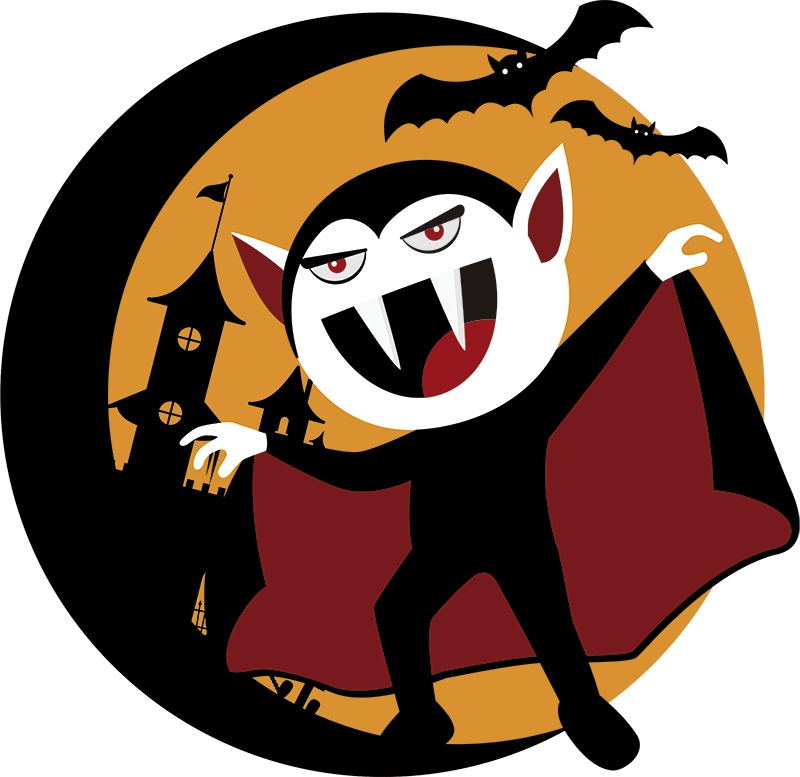 TenStickers. Vampire Halloween Wall Sticker. A superb sticker depicting a vampire causing chaos during Halloween! Ideal for October´s festivities. Available in 50 colours.
